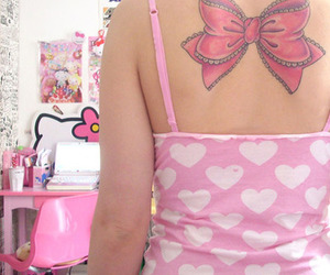 tattoo, pink, and bow image