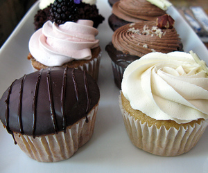 brown, chocolate, and cupcakes image