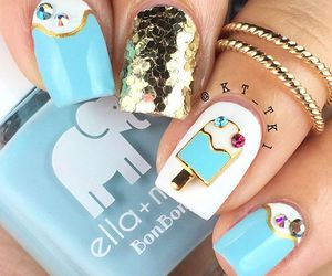 baby blue, blue nails, and ice cream image