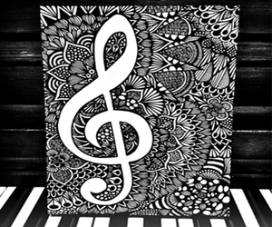black and white, drawing, and music image