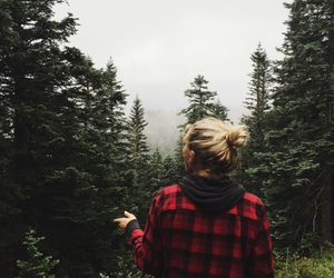 girl, forest, and trees image