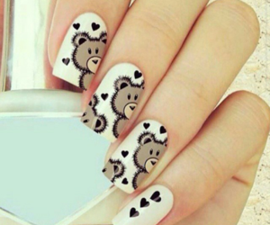 nails, bear, and white image