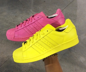 adidas, pink, and yellow image