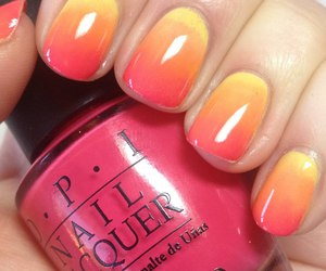 nails, ombre, and orange image