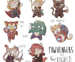 Avengers, cat, and draw image