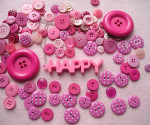 happy, pink, and buttons image
