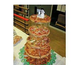 pizza, cake, and wedding image