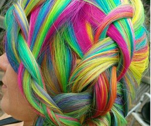 colored hair, hair, and rainbow hair image