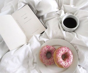 book, donuts, and coffee image