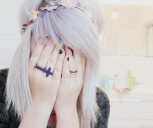 pastel goth, hair, and flowers image