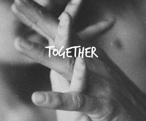 black and white, couple, and hug image