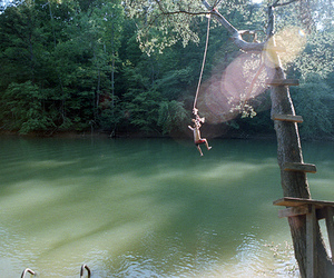 jump, summer, and water image