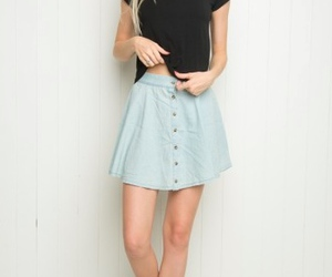 blonde, blue skirt, and boots image