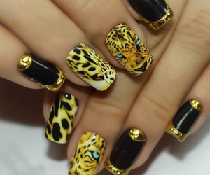 tiger, animal print, and nail art image