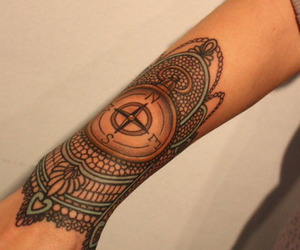 compass, lace, and tattoo image