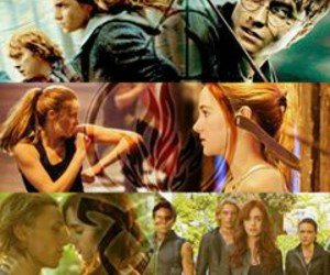 harry potter, divergente, and percy jackson image