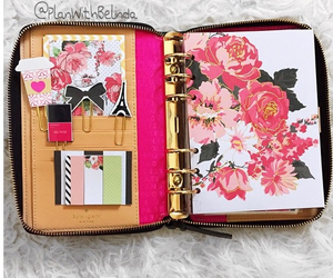 flowers, kate spade, and planner image