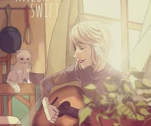 cat, guitar, and song image