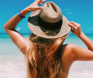 hair, hat, and beach image
