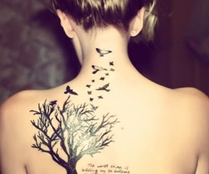tattoo, tree, and bird image