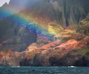 nature, ocean, and rainbow image