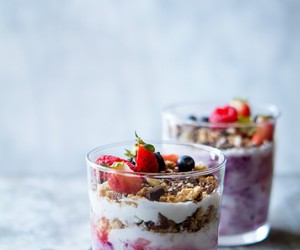 food, berries, and parfait image