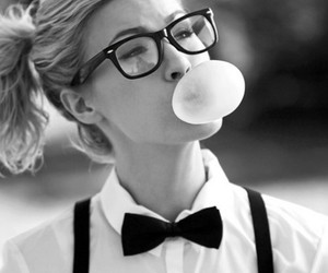 girl, glasses, and black and white image