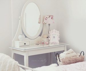 white, room, and mirror image