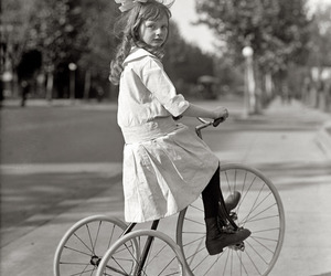 vintage, black and white, and tricycle image