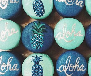 Aloha, pineapple, and blue image