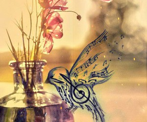flowers, bird, and music image