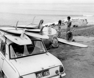 surf, summer, and black and white image