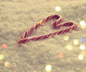 snow, christmas, and heart image