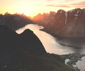 mountains, river, and sunset image