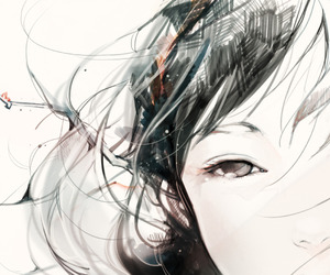 animation, eyes, and girl image