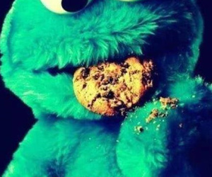 cookie, blue, and cookie monster image