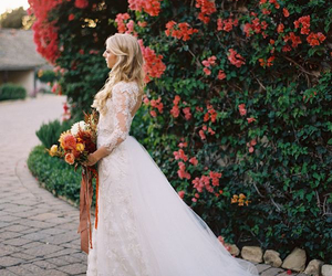 bride, flowers, and white image