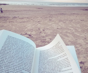 alone, beach, and book image