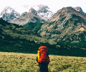 bag, man, and montains image