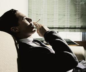benedict cumberbatch, sherlock, and cigarette image