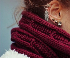 earrings, scarf, and piercing image