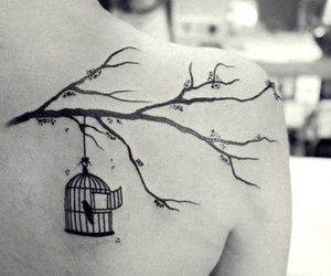 alternative, b&w, and bird tattoo image