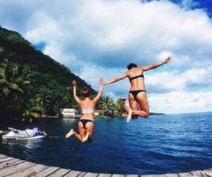 summer, jump, and beach image