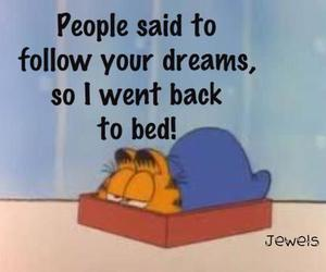Dream, bed, and garfield image