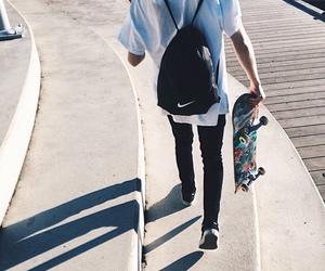 boy, nike, and skate image