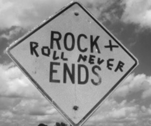 rock, black and white, and rock and roll image