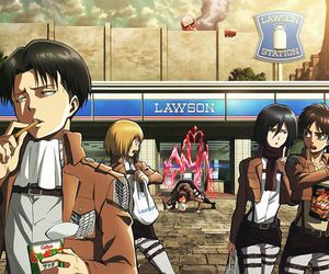 attack on titan, levi, and mikasa image