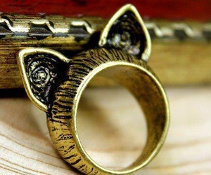 ring, cat, and vintage image