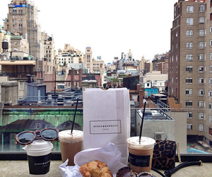 bread, city, and coffee image