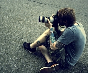 tattoo, boy, and camera image